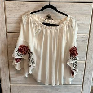 Flowy white and floral top